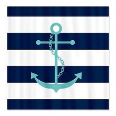 Teal Anchor on Blue Stripes Shower Curtain  Shower Curtains  Heartlocked