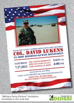 Military Party with Picture - Deployment or Welcome Home Invitation