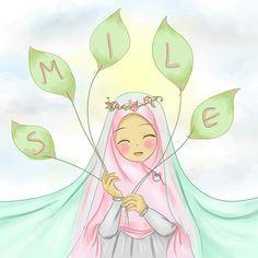 always think positive and smile 😊 Islamic Girl Pic, Islamic Art, Muslim Pictures, Islamic Pictures, Girl Cartoon, Cute Cartoon, Hijab Drawing, Islamic Cartoon, Anime Muslim