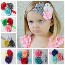 Diy accesorios para el cabello pelo del bebé de los niños con tres shabby gasa de flores de tela taladro de las vendas 50 unids/lote(China (Mainland))