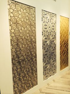 Made as a respectful bow to the old bronze doors you see on mosques, Lux Decorative melds metallics and stone in deco style. Dramatic as a feature wall, fireplace or backsplash finished in Pewter, Silver or Gold.