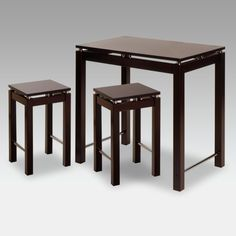 Winsome 3-Piece Chrome Accent Counter Height Pub Table Set with Nesting Stools - 92734