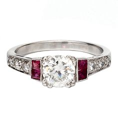 1stdibs - Diamond Solitaire wtth Ruby Sides explore items from 1,700  global dealers at 1stdibs.com