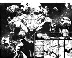 Guardians of the Galaxy Issue 6 pgs 4 and 5 DPS THANOS!!! (Olivier Coipel!) Comic Art