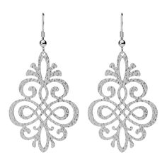 Celebrate femininity with these intricate earrings, designed to fascinate and captivate as you slowly saunter by. Sterling silver has been hammer finished and cut out to create an entrancing arabesque detail. Swinging intriguingly as you wear them, they look simply exquisite with the matching Florentina necklace from this utterly romantic Corazón Collection.  sterling silver 38mm x 53mm fixed hook