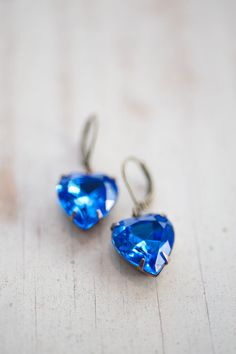 Sapphire Blue Estate Style Vintage Earrings by NotOneSparrow, $22.00 See more here: https://www.etsy.com/shop/NotOneSparrow?ref=l2-shop-info-name