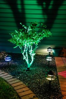 Change The Vibe Of Your Home Exterior With Use Color Changing Led Lights Flood Spotlights Or A Mixture Two Bring New Life To Yo