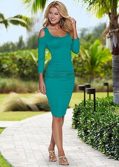 Ruched cold shoulder dress in the VENUS Line of Dresses for Women