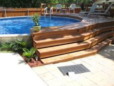 35 Modern Pool Deck Designs for Your Backyard. Patio and pool bars are an excellent spot. There lots of solutions that are excellent to keep to maintain your swimming pool deck space pleasurable yearl. Above Ground Pool Landscaping, Above Ground Pool Decks, Backyard Pool Landscaping, In Ground Pools, Backyard Ideas, Patio Ideas, Landscaping Ideas, Cozy Backyard, Oberirdischer Pool