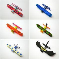 Avioane colorate din cleme si lopatele din lemn ✈️