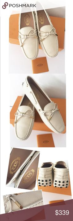 NIB Auth Tod's moccasin shoes SZ 38 Brand new in box. Authentic. Color: white smoke, size 38. Box included. No dust bag.          ❌no trade ❌no lowballing offers.                        Thanks. Tod's Shoes Moccasins