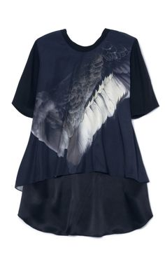 Shop Wing Print A-Line T-Shirt Blouse by Prabal Gurung Now Available on Moda Operandi