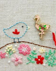 Flossie the Flamingo is a super cute way to keep your needle easy to find during your embroidery, cross stitch or needlework project! This Flamingo Needle Minder has a strong magnet set attched to the flamingo that allows you to hold the flamingo to your stitching without causing any problems wit