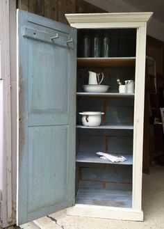 NOW SOLD - Tall very rustic vintage French hall or kitchen cabinet / cupboard
