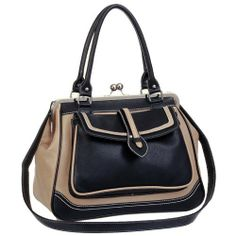 AUBREY Black / Beige Vintage-like Doctor Style Clasp Double Handle Satchel Tote Bowler Handbag Purse Daybag Shoulder Bag MG Collection, http://www.amazon.com/dp/B008J585D2/ref=cm_sw_r_pi_dp_adHTqb0A332JQ