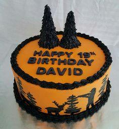 Hand painted hunting scene birthday cake