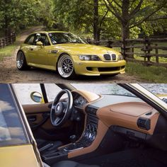 2002 Phoenix Yellow S54 M Coupe perfect stance in Livery Wheels.