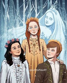 """luztapiaart: """"I had this idea to draw Anne, Cole and Diana as the seasons with their dear Snow Queen for such a long time! For some reason I always pictured the Snow Queen as an ethereal kind of. Gilbert And Anne, Anne White, Amybeth Mcnulty, Gilbert Blythe, Anne With An E, Fanart, Anne Shirley, Dibujos Cute, Snow Queen"""