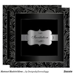 Abstract Black & Silver Party  | DIY Text Invitation