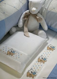 Diy Crafts - Embroidery bears, sponge bob and a couple others for baby bedding. Cross Stitch Borders, Cross Stitch Baby, Cross Stitching, Cross Stitch Patterns, Baby Embroidery, Cross Stitch Embroidery, Embroidery Patterns, Baby Bedding Sets, Toddler Preschool