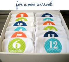 I love this for the new baby......onesies for photos of each month thru their first year! Must remember