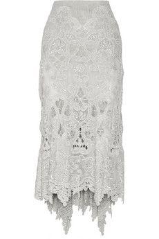 Donna Karan New York Asymmetric macramé lace skirt | NET-A-PORTER