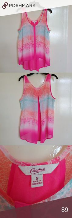 Candie's Sheer High/Low Top Bright pink, blue, coral and white floral, button down, detailed back, sheer top, in good condition.  No flaws!! Candie's Tops