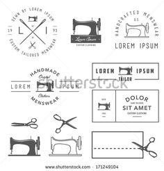 Set of vintage tailor labels, badges and design elements - stock vector