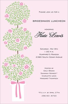 Topiary Blooms Invitations