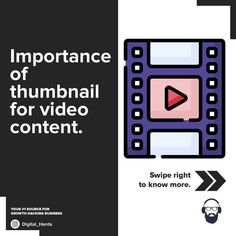 If you are a youtuber or a business runs on YouTube videos then make sure you spend a lot of time on creating a good thumbnail that can bring an instant traffic and good conversion rate for your video content. . . . #Follow @Digital_hanta for more #YoutubeTips . . #youtubemarketing #supportsmallbusinesses  #videocontent #digitalmarketing #marketingsuccess #youtube #smallbusiness  #growyourbusiness #thumbnails Growth Hacking, You Videos, Digital Marketing, Success, Content, Business, Tips, Youtube, Store
