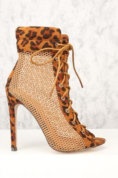 Sexy Leopard Open Toe Lace Up Netted Single Sole High Heels , Lace Up Heels, High Heels, Big Girl Fashion, Clearance Shoes, Cool Boots, Cheap Shoes, Shoe Collection, Shoe Game, Open Toe