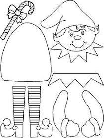 Printable Elf Craft (color, cut, glue) - Lovebugs and Postcards Preschool Christmas, Christmas Sewing, Christmas Activities, Christmas Crafts For Kids, Christmas Projects, Felt Crafts, Holiday Crafts, Paper Crafts, Santa Crafts