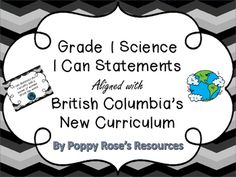 The Grade 1 Science outcomes are presented in I Can Statement format with accompanying graphic so young students can better understand what is expected of them.These I Can Statements are a full page chevron poster designed for display in your class. They are aligned with the new British Columbia Curriculum.