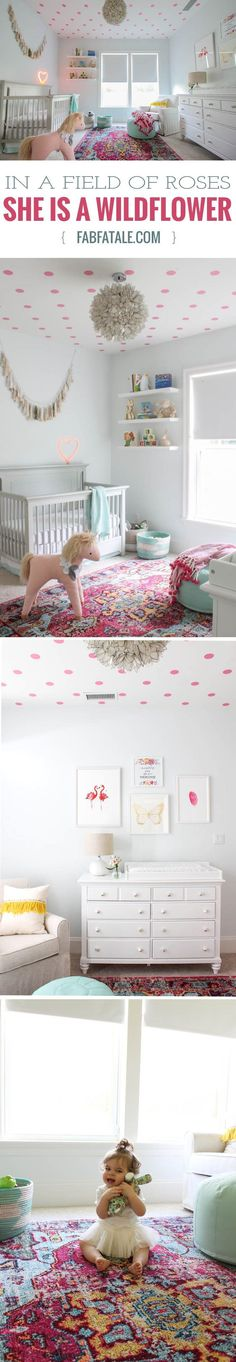 in a field of roses, she is a wildflower, that was the inspiration behind my baby girl nursery, featuring a lotus chandelier, pink polka dot decal ceiling, white dipped baskets, butterfly, flamingo, and feather prints, penguin bookends, and a unicorn. i love her magical space, design c/o /thehavenly/