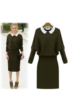 378057d0dd37 Military Green Peter Pan Collar Knit Midi Dress