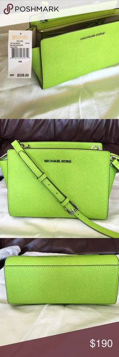 """NWT MICHAEL KORS Cross body or shoulder bag NWT MICHAEL KORS SATCHEL. ADJUSTABLE CROSS BODY STRAP OR CAN BE USED OVER SHOULDER.  Beautiful green color with silver hardware.  Signature logo on front and on hardware. Zipper closure. Interior zipper pocket. Attached interior lanyard for keys. Signature logo interior. Medium size.  Approximately 11"""" length 7"""" height. MICHAEL Michael Kors Bags Satchels"""