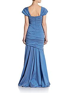 Ruched Taffeta Cap-Sleeve Gown