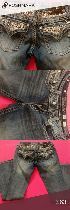 Miss Me Jeans size 29 Brand New!Rare! Size 29 This listing is for a Brand New pair of Miss Me Denim Jeans size 29! The pockets and waist are adorned with pink and silver sequence! These are so dazzling! They are Rare! Nearly impossible to find! Miss Me Pants Boot Cut & Flare