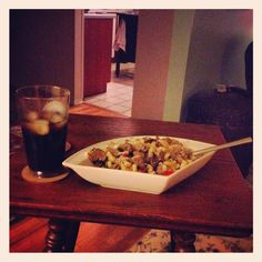 [September Photo a Day Challenge] 17: In my fridge. Coca cola and pasta with beef, tomatoes, onions, and Parmesan cheese! Yummy! #fattyfolyfe #fmsphotoaday