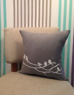 This unique linen cushion cover will bring style to any room in your home or will make the perfect gift.   It's made from linen & Viscose blend in a grey colour and has been hand screen printed .   The zipper opening is well concealed in the edge of the cushion cover.   Size: 40 x 40 cm   Spot clean only.   **Price is for cushion cover ONLY, insert is NOT included*  Shipping: Orders are usually shipped out within 2-3 business days using regular mail after the payment is completed.