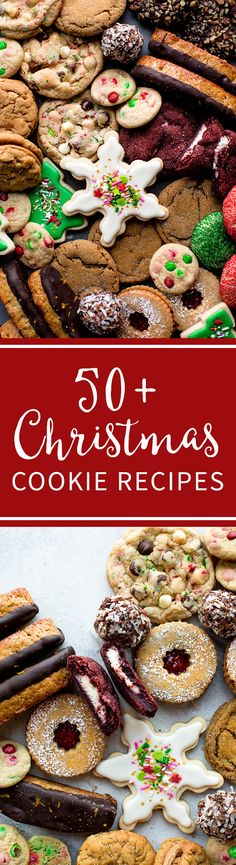 50+ Christmas Cookie recipes including decorated sugar cookies, biscotti, linzer cookies, no-bake cookies, peanut butter cookies, red velvet cookies, chocolate cookies, snowball cookies, molasses cookies, and more!! Cookie recipes on sallysbakingaddiction.com