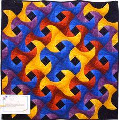 """Subtle Waves"" , 36 x 36, 2011. Twisted Log Cabin block."
