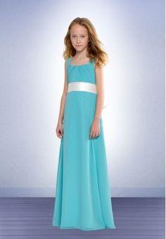 Chiffon Square A-line Long Junior Bridesmaid Dress - Bridesmaid - WHITEAZALEA.com