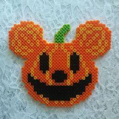 Large Halloween Perler Bead Mickey Pumpkin by TheSweetMouse Perler Bead Designs, Perler Bead Templates, Hama Beads Design, Diy Perler Beads, Perler Bead Art, Melty Bead Patterns, Pearler Bead Patterns, Perler Patterns, Beading Patterns