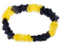Lot de 12 collier Hawaïen JAUNE NOIR HK-27 textile hawaien Hawaï hawaii Hula fleur pétale ambiance tropique déguisement fête beach party…