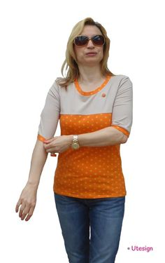Shirt, orange, beige