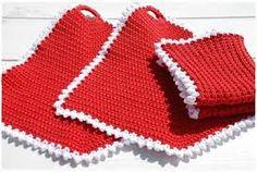 Heidis kreative sider: luke: Grytekluter i julefarger Pot Holders, Blanket, Crochet, Coasters, Creative, Hot Pads, Potholders, Crochet Crop Top, Drink Coasters