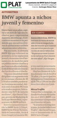 Inchcape Motors: Lanzamiento del Serie 2 Coupé en el diario Gestión de Perú (26/03/14)