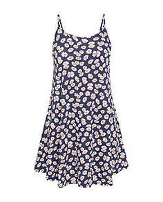 Navy Strappy Daisy Print Swing Dress | New Look