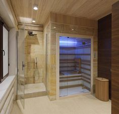 Interior of a wooden house Steam Room Shower, Sauna Steam Room, Sauna Room, Home Spa Room, Spa Rooms, Bathroom Spa, Downstairs Bathroom, Sauna Shower, Indoor Sauna